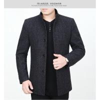 秋冬季男装外套中老年衣服男士毛呢外衣中年爸爸装冬装呢子夹克衫
