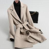双面呢羊绒大衣女装秋冬韩版修身系带短款小个子毛呢外套