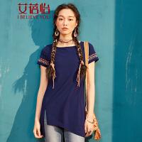 艾蓓怡不规则下摆中长款短袖T恤女2017夏装新款绣花民族风上衣
