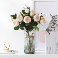 奇居良品 高仿真绢花假花仿真手感保湿玫瑰配森罗拉菲尔玻璃花瓶套装