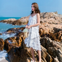 维绯夏海边法式流苏羽毛吊带连衣裙V领无袖露肩A字白色夏沙滩裙子 白色
