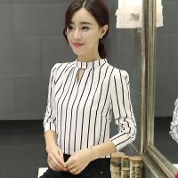 2017春装新款条纹T恤女士中长袖韩版百搭时尚雪纺打底衫上衣服潮