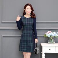 2018春季气质韩版修身中长格子连衣裙女中年长袖30-40-50岁妈妈装