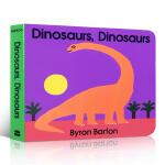 英文原版 Dinosaurs Board Book 恐龙纸板书撕不烂启蒙3-6岁儿童认知科普亲子幽默故事HarperF