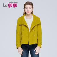 【618大促-每满100减50】lagogo拉谷谷秋冬季新款纯色短款呢子大衣女装韩版毛呢外套