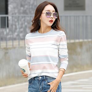 秋季新款女装上衣条纹长袖T恤女韩版修身显瘦体恤棉质打底衫女潮