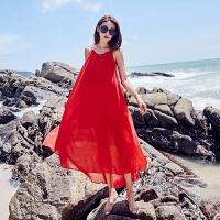 维绯红色露背沙滩裙长裙海边波西米亚大码胖mm海边度假显瘦连衣裙 红色 收藏送小胸贴