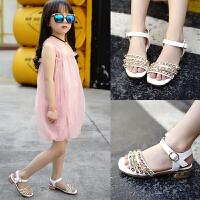 儿童凉鞋女夏季女童公主鞋沙滩鞋平底时尚学生女孩中大童