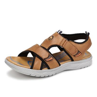 骆驼男凉鞋夏季透气牛皮男士休闲凉拖鞋户外运动沙滩鞋爸爸鞋