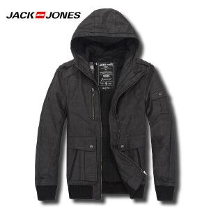 杰克琼斯秋冬季男士简约纯色修身连帽百搭棉服外套41-4--211422028010