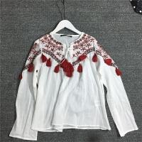 夏装新款圆领套头红色流苏装饰民族风圆领百搭上衣女
