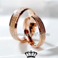 彩金钛钢磨砂尾戒女情侣戒指 防过敏玫瑰金时尚七夕情人节礼物