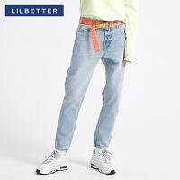 2.5折价:105;Lilbetter2019新款复古休闲男士牛仔长裤