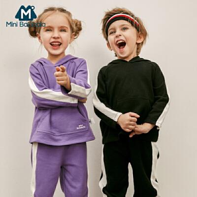 【满200减130】迷你巴拉巴拉男女宝宝长袖套装2019春装新品儿童运动卫衣两件套
