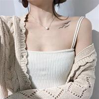 纯色V领吊带上衣女修身显瘦弹力打底衫韩国学生针织抹胸背心