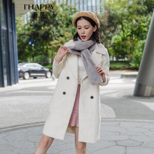 海贝2017冬装新款女装纯色西装领毛领双排扣中长款羊毛呢大衣外套
