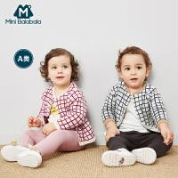 【年终狂欢 3件3折价: 48】迷你巴拉巴拉婴儿针织衫儿童开衫2019春新款纯棉男女宝宝格子毛衣