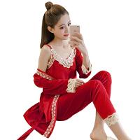 2018新款2018春秋韩版睡衣女装金丝绒三件套装天鹅绒性感吊带珊瑚绒家居服