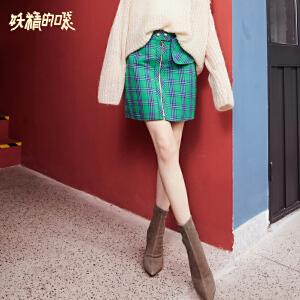 【2件3折到手价:112】妖精的口袋裙子bf女酷秋装新款格子复古原宿风半身短裙女