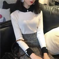 有领子的毛衣女复古polo翻领黑白撞色袖口扣子设计厚实针织衫百搭