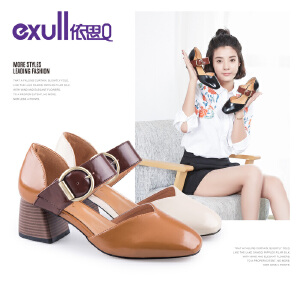 依思q春秋新款时尚韩版奶奶鞋复古女鞋百搭中空粗跟单鞋