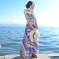夏季新品女装系带显瘦无袖雪纺连衣裙波西米亚长裙海边度假沙滩裙 图片色XZ524