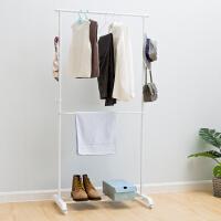 【满减】欧润哲 时尚可伸缩一体化衣物收纳架晾衣架 三层升降晾晒架衣架鞋架