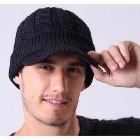 棉帽老人帽男 男士秋冬天保暖针织帽户外鸭舌帽中老年人