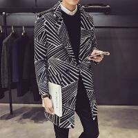 新款个性几何涂鸦印花中长款毛呢大衣男韩版夜店发型师男装风衣外