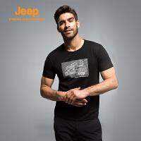 Jeep/吉普夏季男女情侣款速干短袖T恤