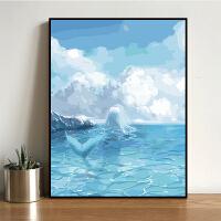 数字油画油彩画客厅卡通动漫抽象填色手工绘装饰画美人鱼