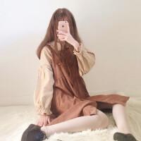 2018春秋女装韩版学生少女宽松打底衬衫上衣+背带连衣裙秋冬裙子 均码