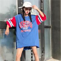 半袖上衣女夏装宽松大款韩版学院风棒球衣服短袖t恤中长款韩国潮