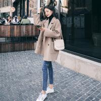 赫本风小个子毛呢外套女短款2018新款流行秋冬季学生森系呢子大衣 X