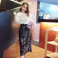 夏季时尚字母印花短袖T恤+高腰亮片半身裙开叉长裙套装女