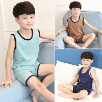 儿童睡衣男童睡衣夏季薄款棉中大童短袖家居服夏天小孩背心套装