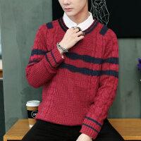 韩版潮宽松针织衫上衣冬季套头百搭v领线衣青年时尚休闲毛衣男士