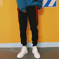 秋冬季2018潮男条纹针织卫裤青年男士小脚运动裤弹力收脚束脚裤子