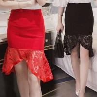 加肥加大码春装韩版荷叶边蕾丝半身裙200斤胖MM高腰修身包臀裙潮