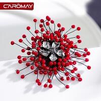 复古珠花胸针女外套红色胸花徽章服装配饰饰品别针扣