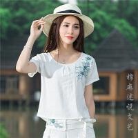 中国风夏装新款T恤女文艺民族风上衣绣花短袖圆领短款打底衫