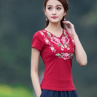 中国风女装 短袖刺绣上衣 民族风夏季新款拼接修身短袖T恤 打底衫