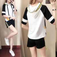 休闲套装女短袖时尚韩版新款夏天跑步运动短裤连帽卫衣两件套