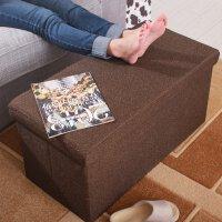 泰蜜熊棉麻混纺多功能加大加长家用储物箱收纳凳换鞋凳宝宝玩具收纳箱