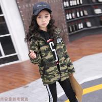 冬季女童风衣短款外套2018春秋季新款韩版中大儿童迷彩拉条连帽外套潮秋冬新款