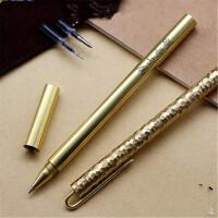 圆柱铜笔全金属签字笔刻字 黄铜笔中性笔定制学生礼物品礼品