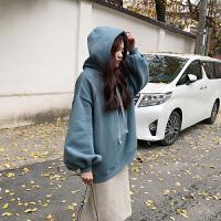 加绒加厚宽松显瘦花苞袖连帽套头卫衣女冬季韩版学生大码原宿外套 藏蓝色