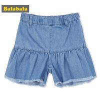 巴拉巴拉童装女童裤子中大童短裤夏装2018新款甜美儿童牛仔裤蓝色
