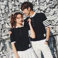 2018夏季新款韩版情侣装潮流复古拼接撞色短袖Polo衫学生班服男女