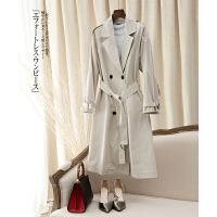 新款女士收腰修身显瘦长袖休闲风衣外套中长款J0/2/64